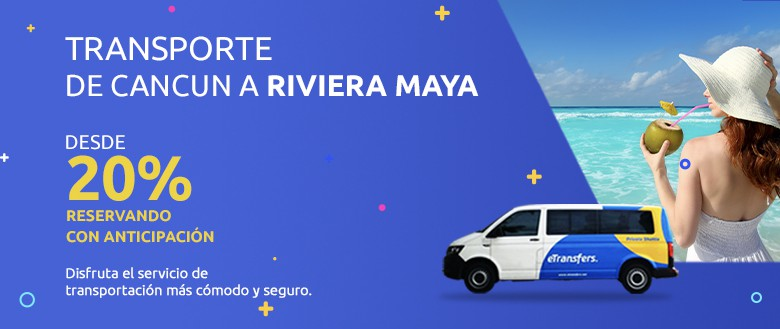 White van with etransfer logos and a happy family in the Riviera Maya | eTransfers
